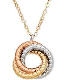 """Tri-Color Rope-Textured Love Knot 17"""" Pendant Necklace in 14k Gold, White Gold & Rose Gold"""