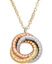 "Italian Gold Tri-Color Rope-Textured Love Knot 17"" Pendant Necklace in 14k Gold, White Gold & Rose Gold"