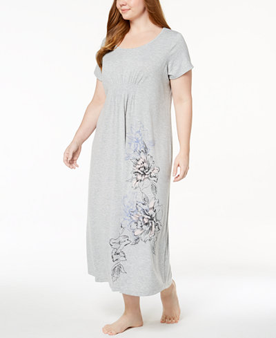 Alfani Plus Size Ruched-Waist Floral-Print Knit Nightgown, Created for Macy's