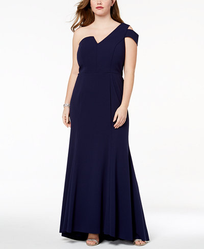 Betsy & Adam Plus Size One-Shoulder Gown