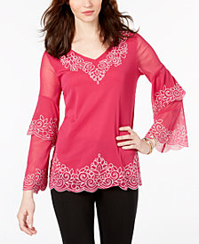 Alfani Petite Embroidered Ruffle-Sleeve Top, Created for Macy's