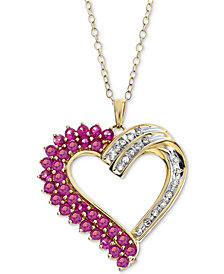 Lab-Created Ruby (1-1/4 ct. t.w.) & Diamond (1/10 ct. t.w.) in 14k Gold-Plated Sterling Silver