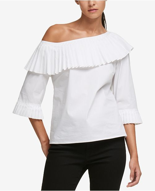c71fb9871550b7 ... DKNY Pleated Off-The-Shoulder Top