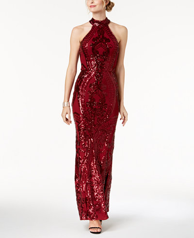 Betsy & Adam Sequined Stretch Halter Gown