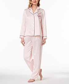 Thalia Sodi Rose-Print Woven Pajama Set, Created for Macy's