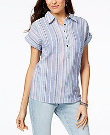Style & Co Petite Cotton Textured Striped Shirt, Created for Macy's