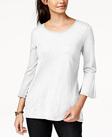 Style & Co Cotton Bell-Sleeve Peplum Back Top, Created for Macy's