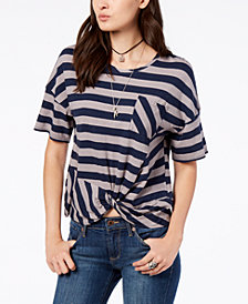 Lucky Brand Striped Twist-Hem T-Shirt