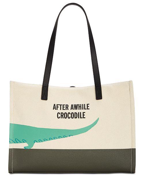Kate Spade New York Swamped Alligator Canvas Mega Sam Large Tote Handbags Accessories Macy S