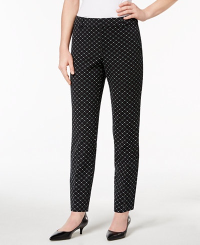 Charter Club Newport Tummy-Control Printed Ankle Pants, Created for Macy's