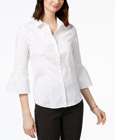 Charter Club Cotton Bell-Sleeve Shirt, Created for Macy's