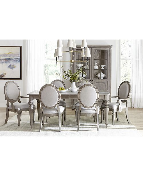 Furniture Elina Expandable Dining Furniture, 7-Pc. Set (Dining Table, 4 Upholstered Side Chairs & 2 Upholstered Arm Chairs), Created for Macy's