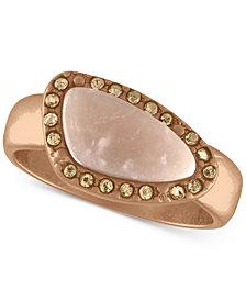 RACHEL Rachel Roy Rose Gold-Tone Pavé & Pink Stone Ring