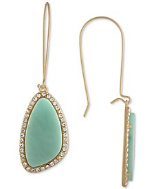 Gold-Tone Blue Stone Drop Earrings