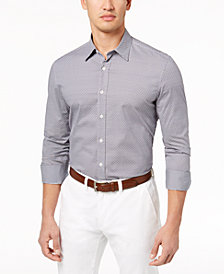 Con.Struct Men's Downey Square Stretch Geo-Print Shirt, Created for Macy's