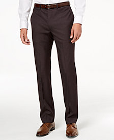 Calvin Klein Men's Slim-Fit Stretch Plum Neat Dress Pants