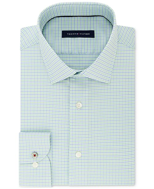 6599c2842 Tommy Hilfiger Men's Slim-Fit Non-Iron Performance Stretch Check Dress Shirt
