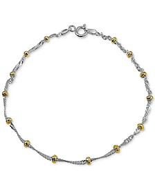 Beaded Singapore Chain Bracelet in Sterling Silver & 18k Gold-Plate, Created for Macy's