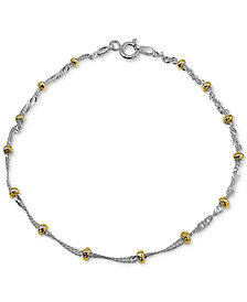 Giani Bernini Beaded Singapore Chain Bracelet in Sterling Silver & 18k Gold-Plate, Created for Macy's