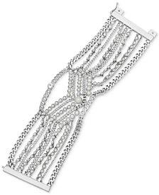 Givenchy Silver-Tone Crystal & Imitation Pearl Multi-Row Flex Bracelet