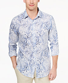 Tasso Elba Men's Faded Paisley Linen Shirt, Created for Macy's