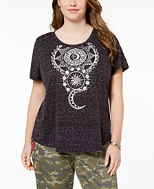 Style & Co Plus Size Printed High-Low T-Shirt, Created for Macy's
