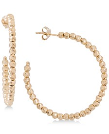 Giani Bernini Small Beaded Hoop Earrings in 18k Gold-Plated Sterling Silver, Created for Macy's