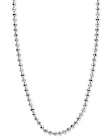 "Giani Bernini 20"" Beaded Chain Necklace in Sterling Silver, Created for Macy's"