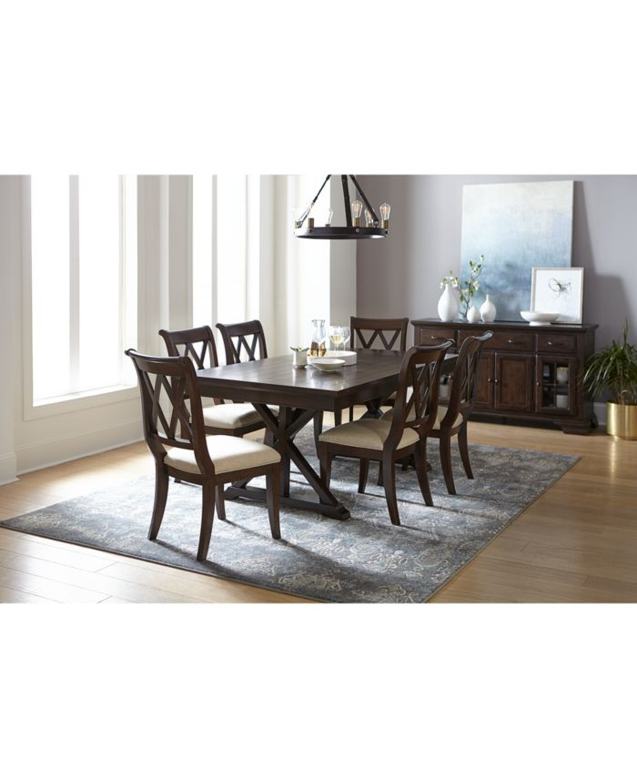 Furniture Baker Street Dining Furniture, 7-Pc. Set (Dining Trestle Table & 6 Side Chairs) & Reviews - Furniture - Macy's