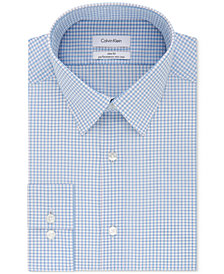 Calvin Klein Men's STEEL Slim-Fit Non-Iron Performance Stretch Blue Check Dress Shirt