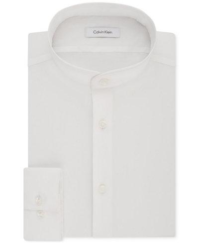 Calvin Klein Men's STEEL Slim-Fit Non-Iron Performance Stretch Mandarin Collar White Dress Shirt