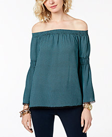 MICHAEL Michael Kors Gingham Off-The-Shoulder Top, Created for Macy's
