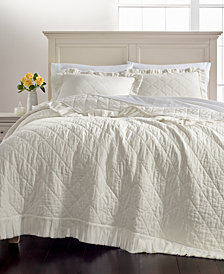 Martha Stewart Collection Linen-Cotton Ruffle Quilt and Sham Collection, Created for Macy's