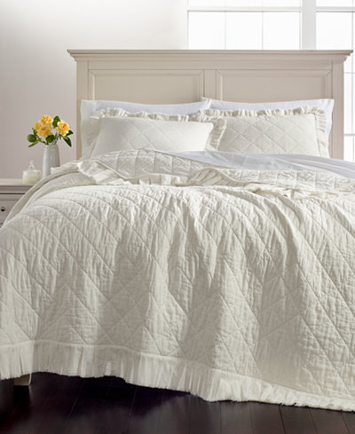 Martha Stewart Collection Linen Cotton Ruffle Quilt And