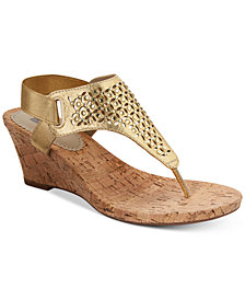 White Mountain Arnette Embellished Wedge Sandals, Created for Macy's