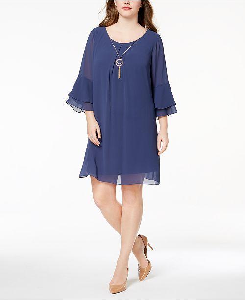 94350c35a70 BCX Trendy Plus Size Chiffon Necklace Dress - Dresses - Plus Sizes ...