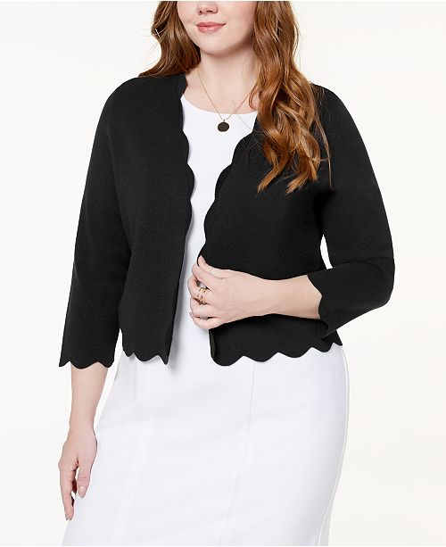 Plus Size Scalloped Cropped Cardigan, Created for Macy's