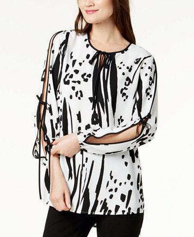 Alfani Printed Tie-Sleeve Blouse, Created for Macy's