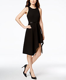 Calvin Klein High-Low Scuba Fit & Flare Dress