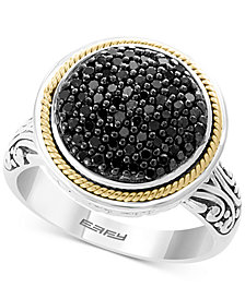 EFFY® Diamond Round Cluster Filigree Ring (3/8 ct. t.w.) in Sterling Silver and 18k Gold