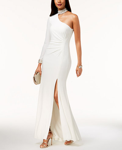 Xscape Embellished Choker One-Shoulder Gown