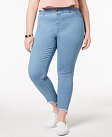 HUE® Women's  Plus Size Step-Hem Original Denim Leggings, Created for Macy's