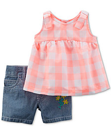 Carter's 2-Pc. Checkered Tunic & Denim Shorts Set, Baby Girls