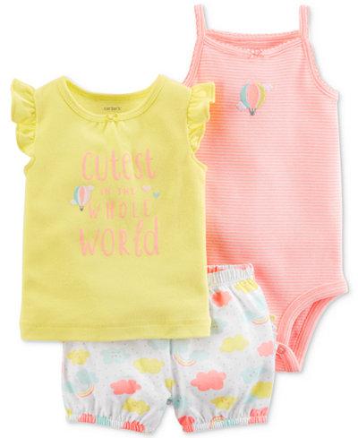 Carter's 3-Pc. Bodysuit, Shirt & Shorts Set, Baby Girls