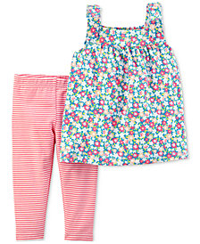 Carter's 2-Pc. Floral-Print Tunic & Striped Leggings Set, Baby Girls