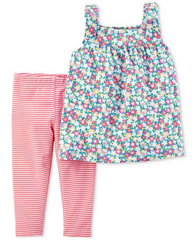 Carter's 2-Pc. Floral-Print Tunic & Striped Leggings Set, Baby Girls