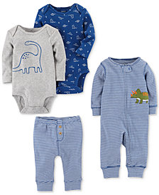 Carter's 4-Pc. Cotton Dinosaur Coverall, Bodysuits & Pants Set, Baby Boys