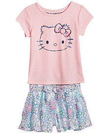 Hello Kitty 2-Pc. Graphic-Print T-Shirt & Shorts Set, Baby Girls