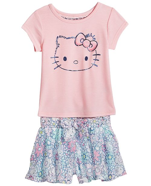 f1f8a10c0 Hello Kitty 2-Pc. Graphic-Print T-Shirt & Shorts Set, Baby Girls & Reviews