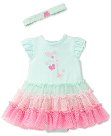 Little Me 2-Pc. Popover Ruffled Bodysuit & Headband Set, Baby Girls